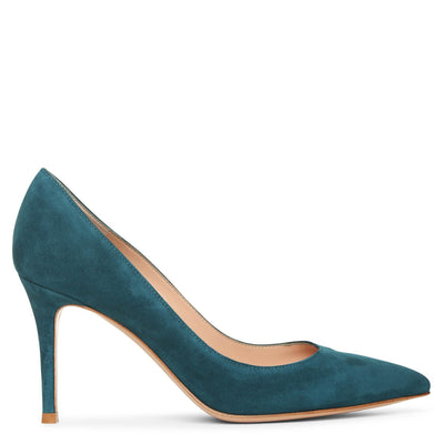Gianvito 85 teal suede pumps