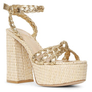 Kea gold and raffia platform sandals