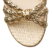 Bee flat gold and raffia sandals