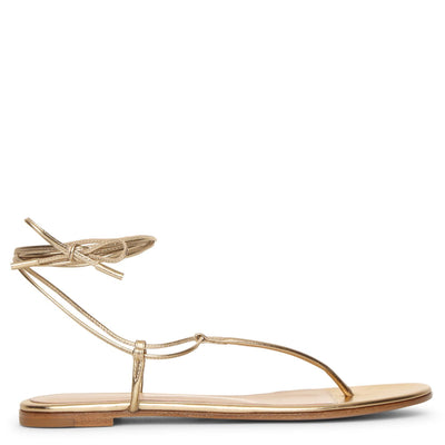 Metallic gold leather flat sandals