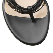 Black leather thong sandals