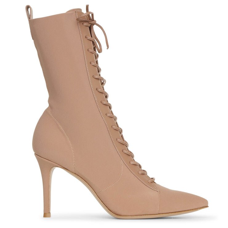Lace up satin ankle boots