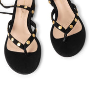 Studded black suede sandals