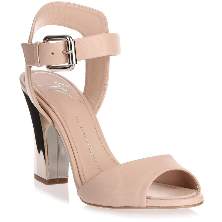Nude leather mirror heel sandal