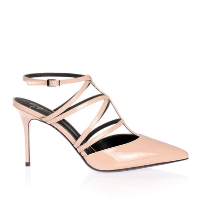 Nude patent leather pump