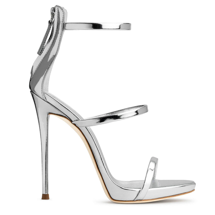 Harmony 120 silver metallic leather sandals