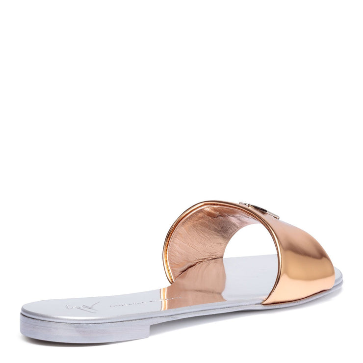 Shirley metallic rose gold leather slides