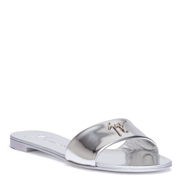 Shirley metallic silver leather slides