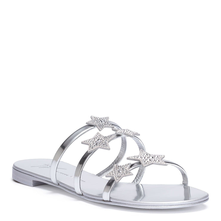 Hamony Star silver leather flat sandals
