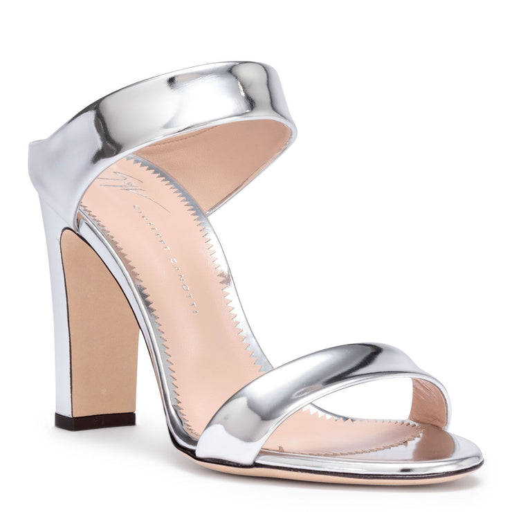 Metallic silver leather block heel sandals