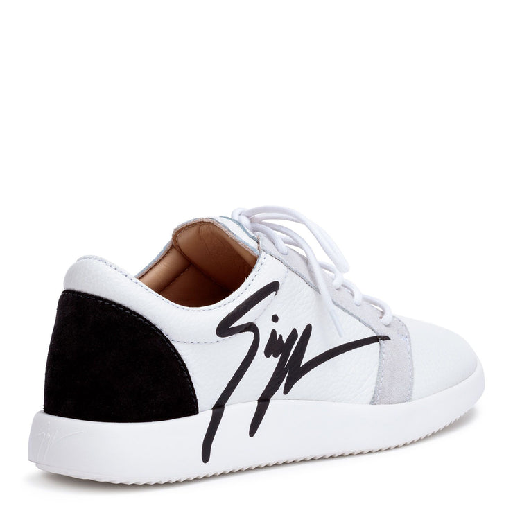 White leather logo sneakers