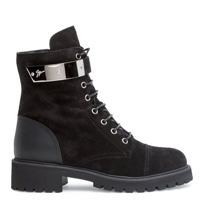 Black leather combat boots