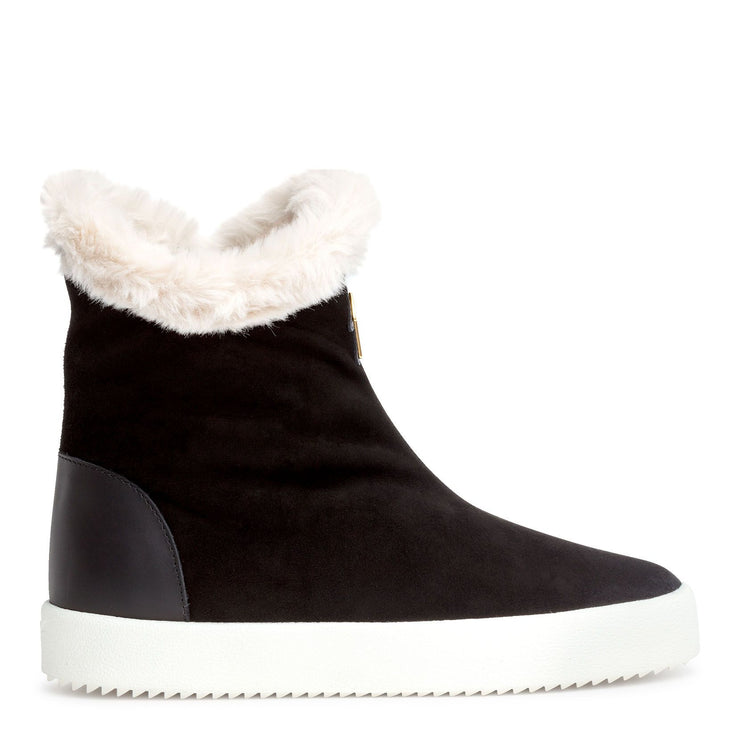 Black suede shearling boots