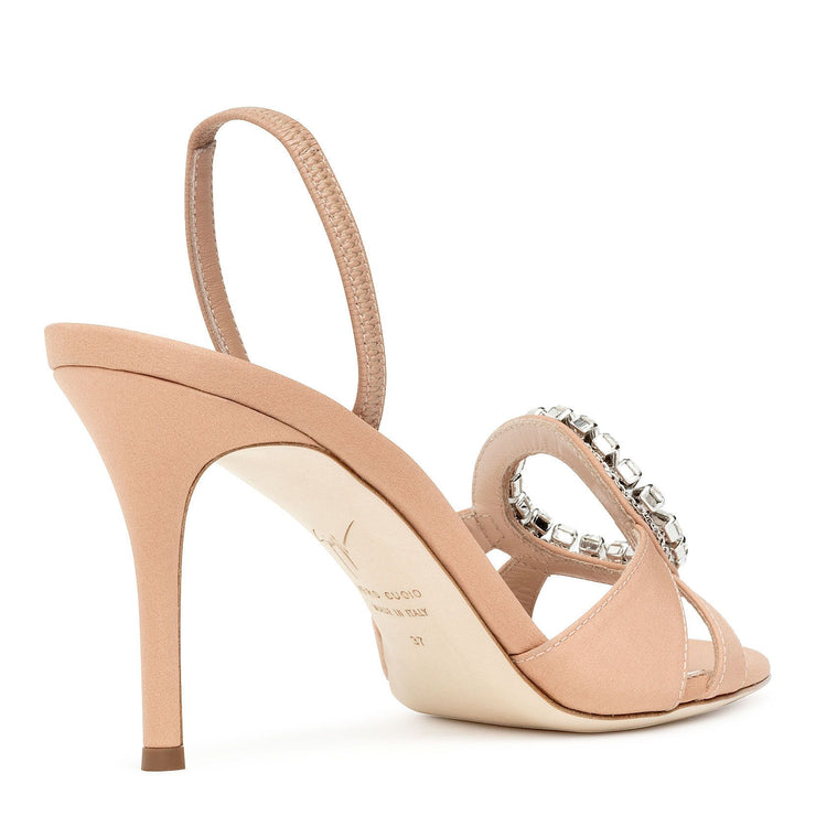Nude satin slingback sandals