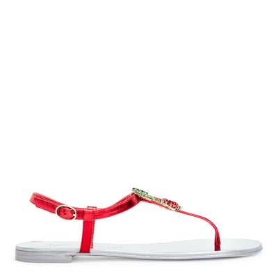 Strawberry red crystals flat sandals