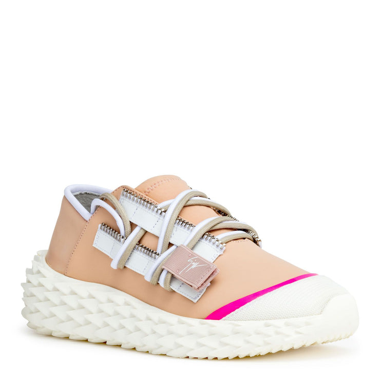 Nude leather sneakers