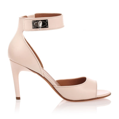 Nude leather shark lock sandal