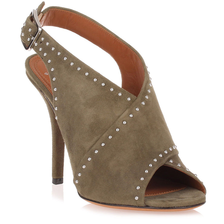Khaki suede cross-over sandal