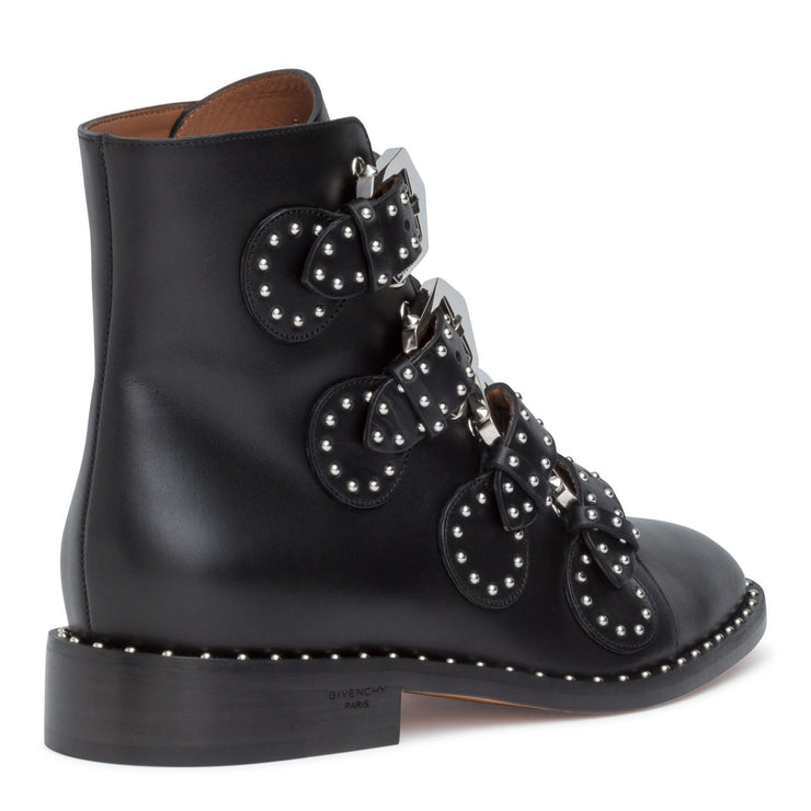 Elegant flat black leather boot