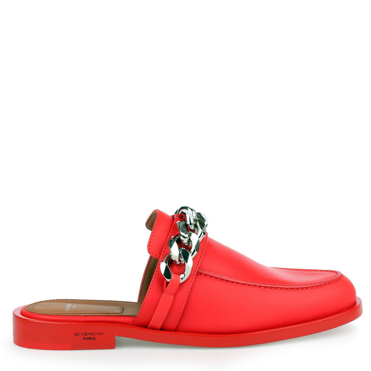 Red leather chain loafer