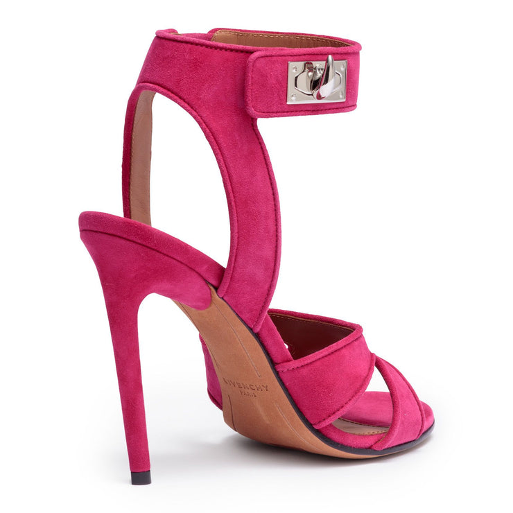 Fucshia suede sandals shark lock sandals