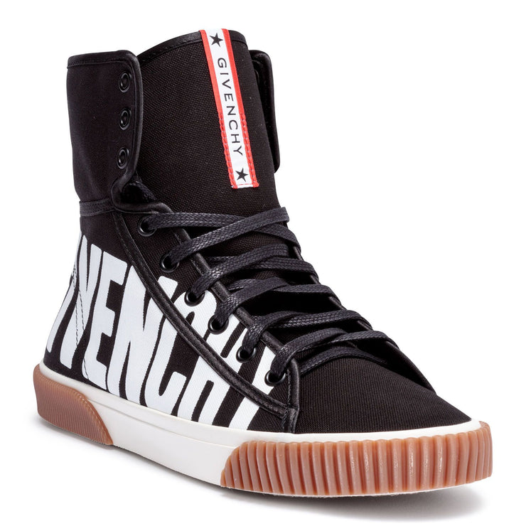 Black and white logo boxing sneakers