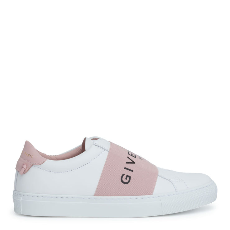 Urban street white and pink logo sneakers
