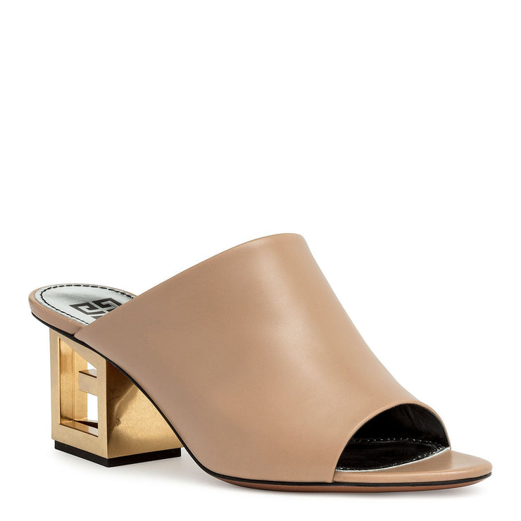 Beige leather Triangle mules