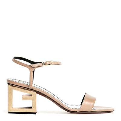 Beige Leather Triangle Sandal