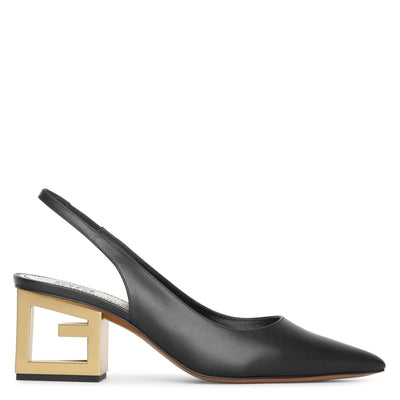 Triangle black leather slingback pumps