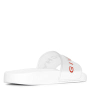 Clear and white rubber slides sandals