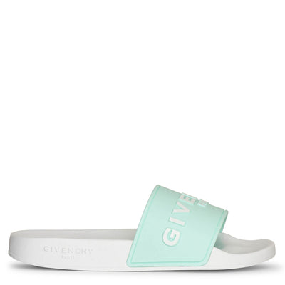 Givenchy Paris rubber aqua sandals