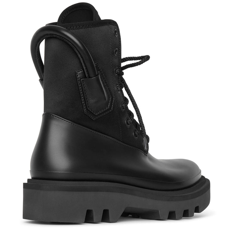 Combat rubber neoprene and satin boots