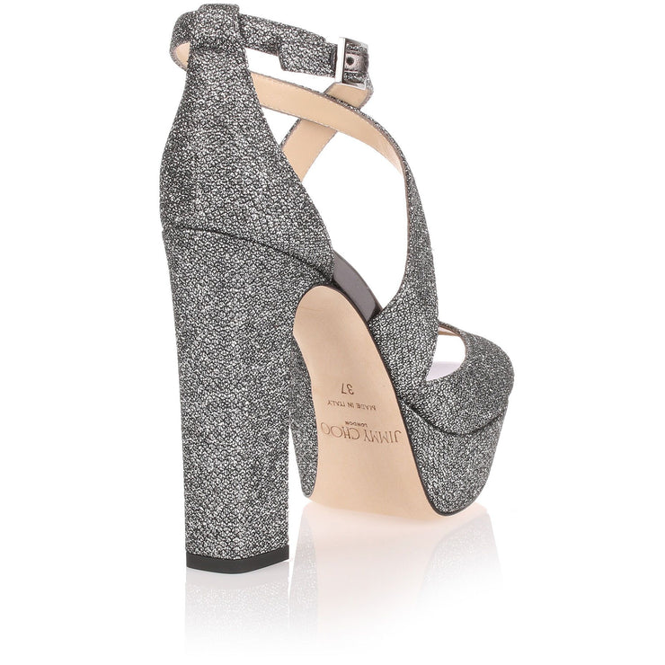 April grey glitter fabric sandal