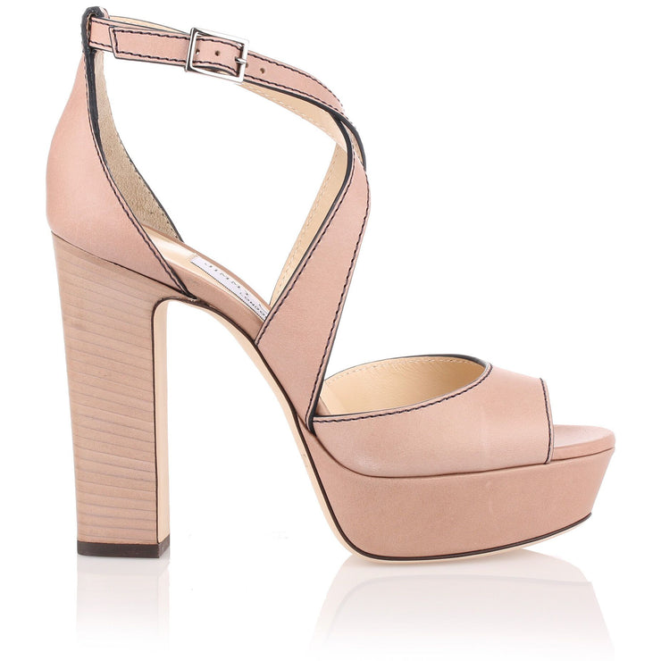 April beige leather sandal