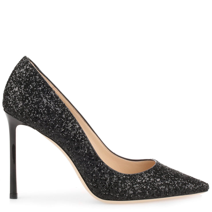 Romy 100 black coarse glitter pump