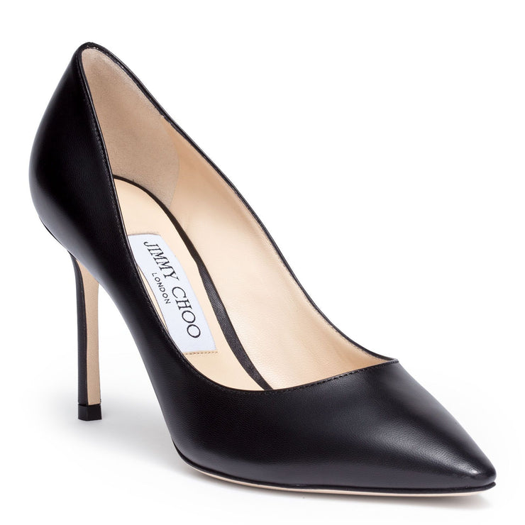 Romy 85 black leather pump