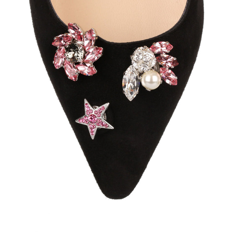 Spring pink crystal jewelled button