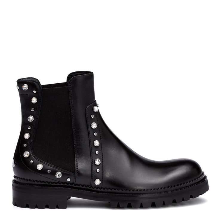 Burrow black leather beaded boots