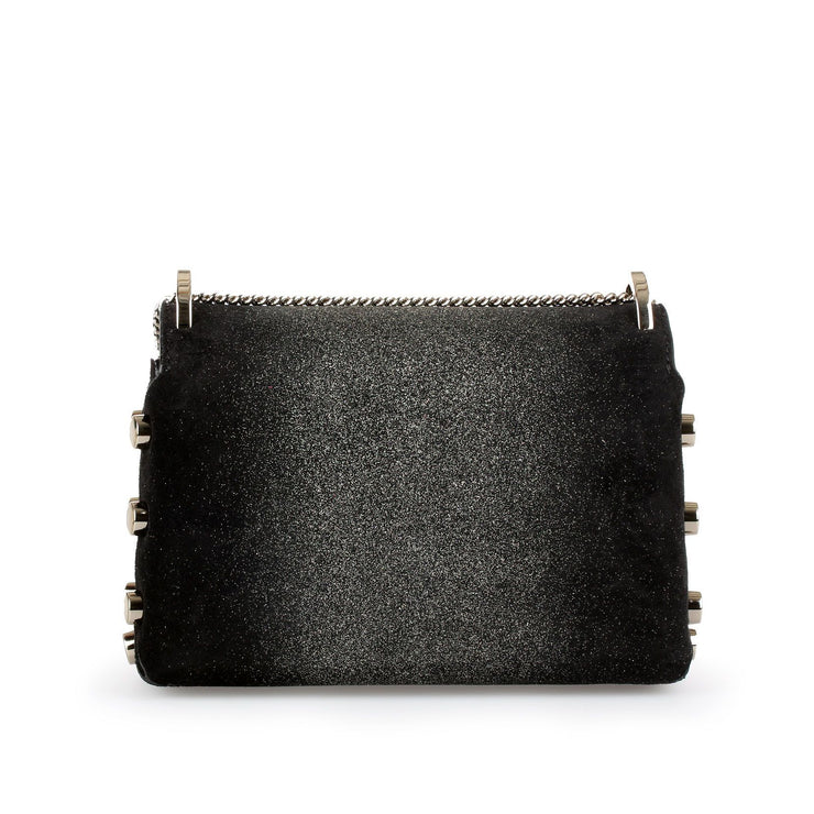 Lockett mini black glitter suede bag