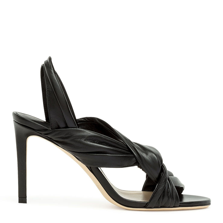 Black nappa leather sandals