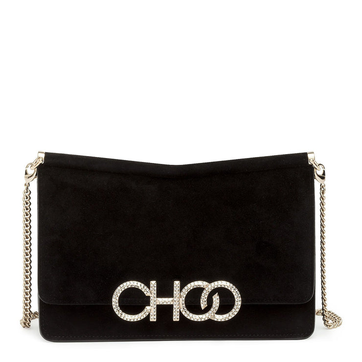 Black suede crystal logo clutch