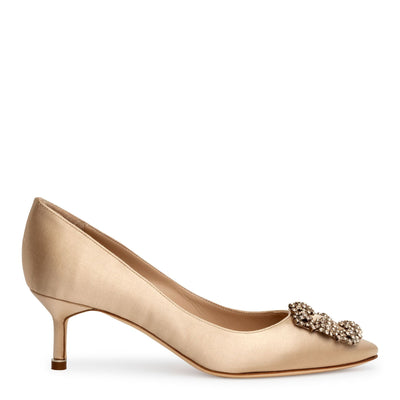 Hangisi 50 champagne satin pumps