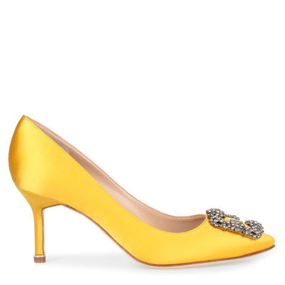 Hangisi 70 yellow satin pump