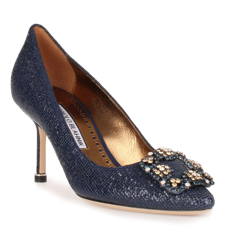 Hangisi 70 blue printed suede, colour buckle pump