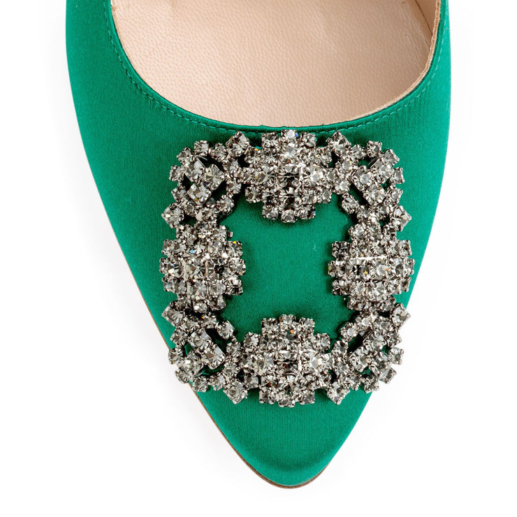 Hangisi 70 emerald satin pumps