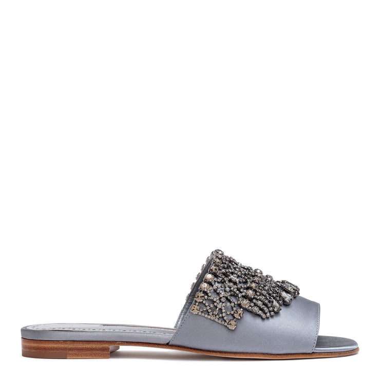 Rian grey satin embellished sandals