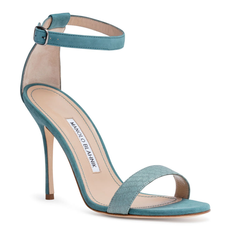 Chaosbic 105 Dusty Green Suede Snakeskin Sandals