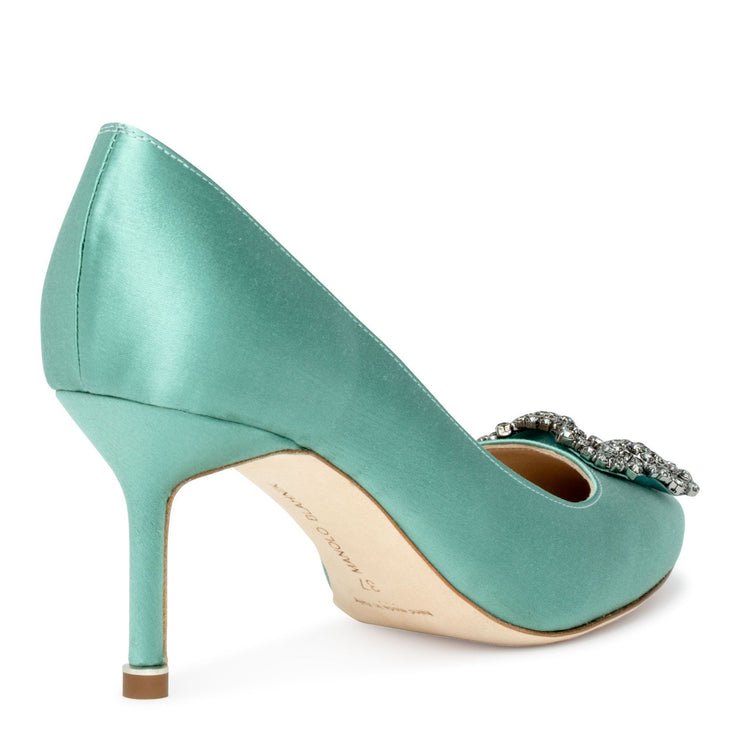 Hangisi 70 satin green FMC pumps