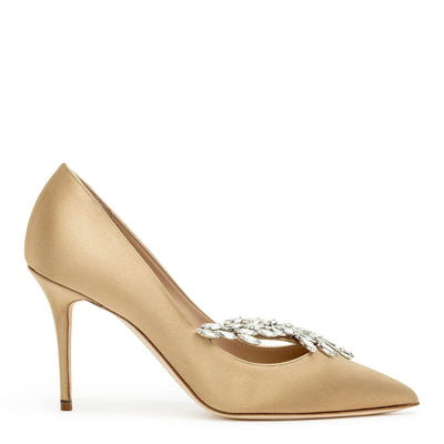 Nadira 90 golden brown satin pumps